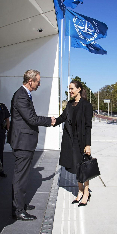 Angelina Jolie vyjednává na vysoké úrovni na mnoha frontách. Na snímku s Pieterem de Baanem.
