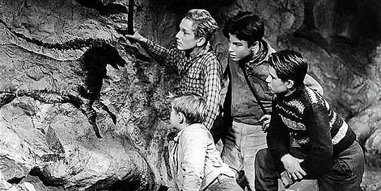 Film Cesta do pravěku o čtyřech cestovatelích v čase vznikl v roce 1955.