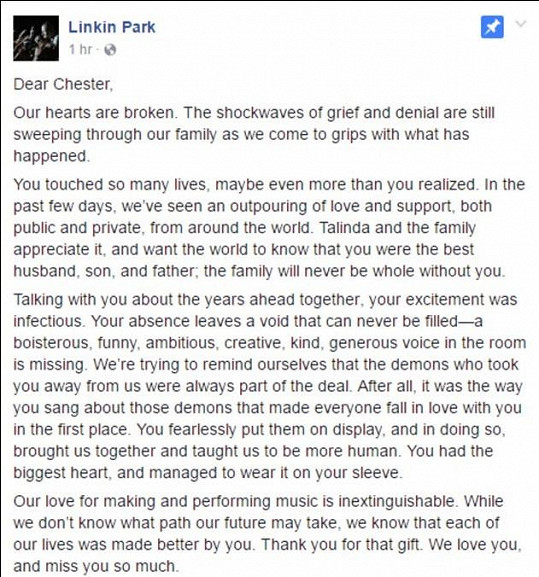 Dopis od Linkin Park na Facebooku
