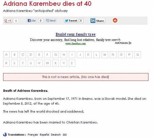 Stránky Necropedia.org oznamují, že je Adriana po smrti.
