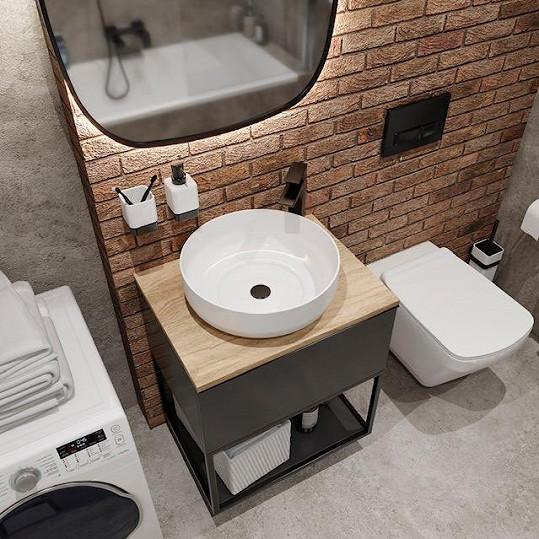 Také koupelna je v industiálním stylu.