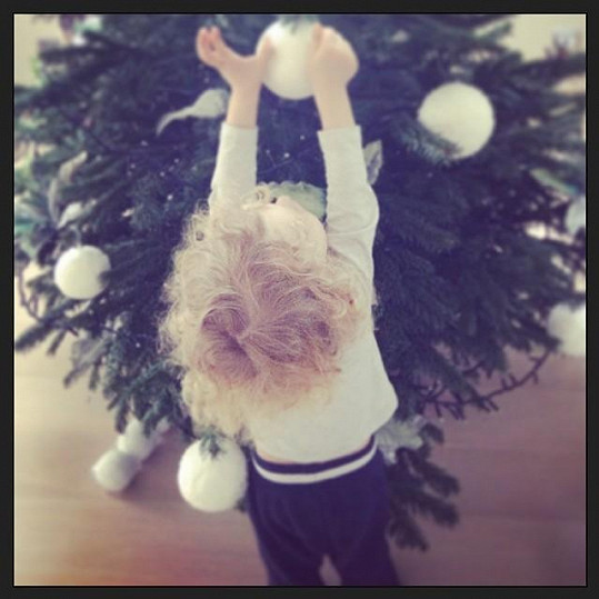 U Simony Krainové zdobil stromek i malý Max.