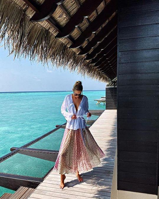 Přelom roku tráví Michaela Kociánová na Maledivách.
