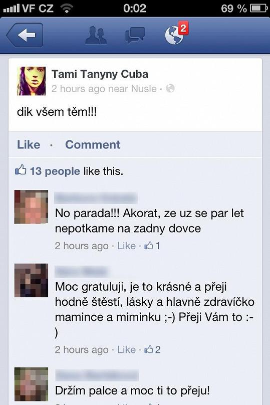 Na sociální síť Tamaře chodí gratulace k očekávanému dítěti.