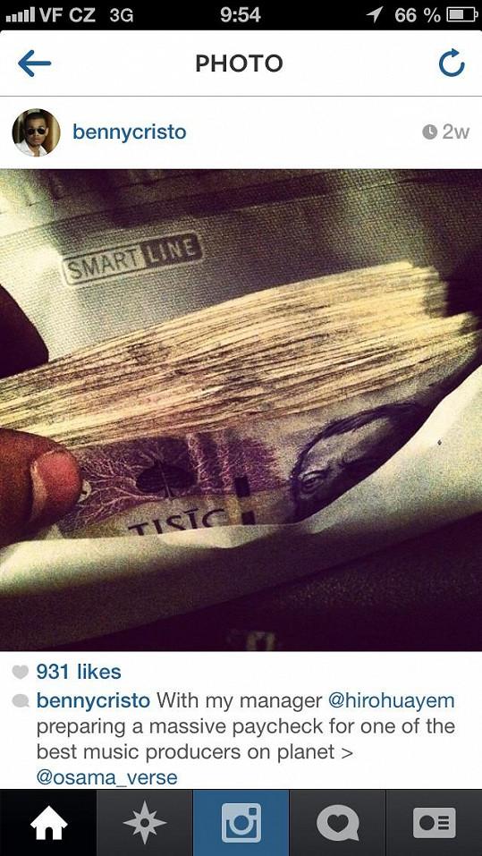 Prostřednictvím svého profilu na sociální síti se Ben pochlubil pořádnou sumou peněz, které utratí za nové album.