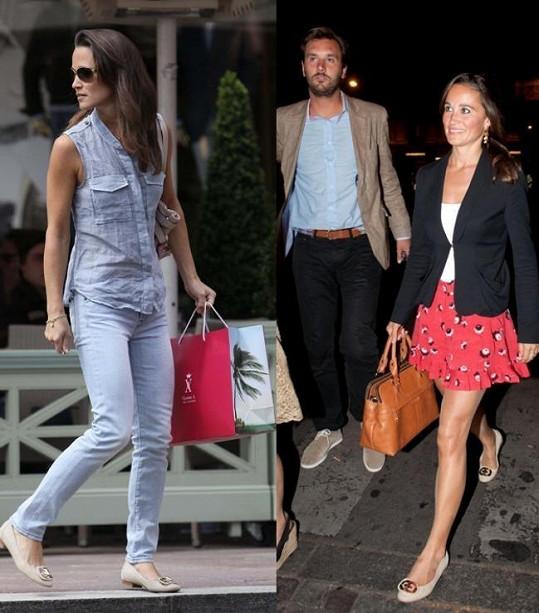 Pippa Middleton vlevo s taškou Vicomte Arthur, vpravo je pak ve společnosti majitele této známé módní značky.