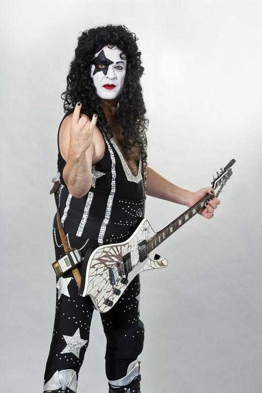 Miroslav Etzler jako člen kapely Kiss