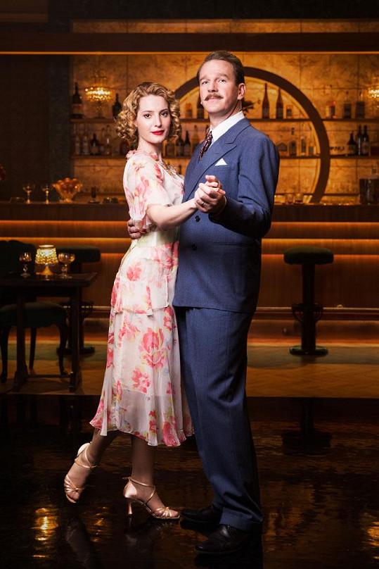 Katarína se svým seriálovým manželem, kterého hraje Stanislav Majer.
