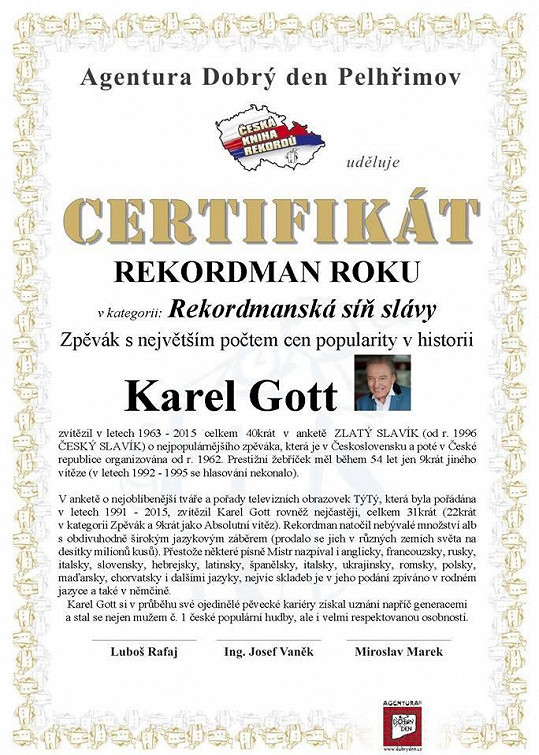 Certifikát Karla Gotta
