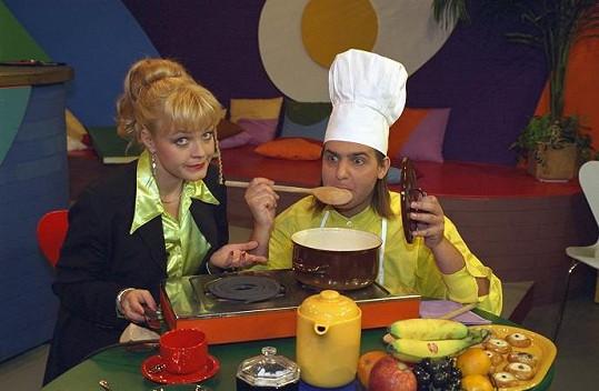 Markéta Mayerová a Slávek Boura ve Snídani s Novou, kterou moderovali v 90. letech.