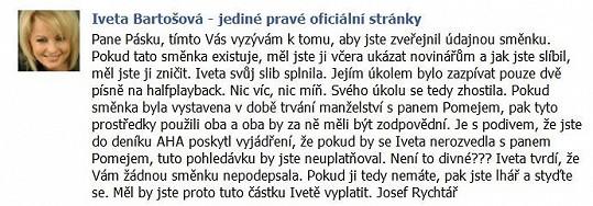 Takhle původně na Páska zaútočil Rychtář na Ivetině Facebooku.