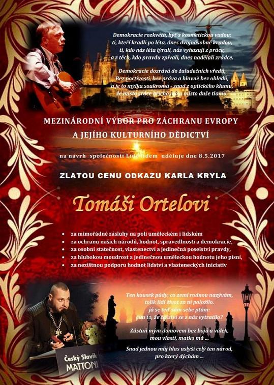 Ocenění, které Tomáš Ortel získal.