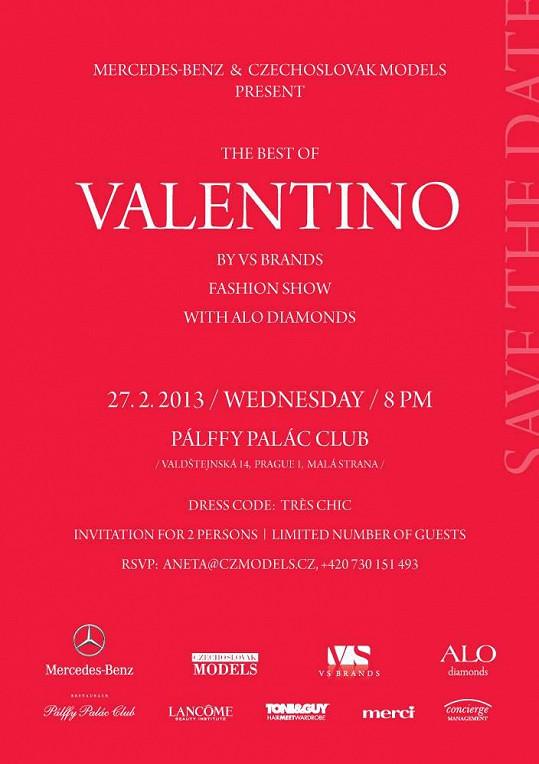 Pozvánka na show The best of Valentino. O tom, že jde o prodejní akci jednoho z dovozců, jak agentura Czechoslovak Models tvrdí, se tam ale nedočteme...
