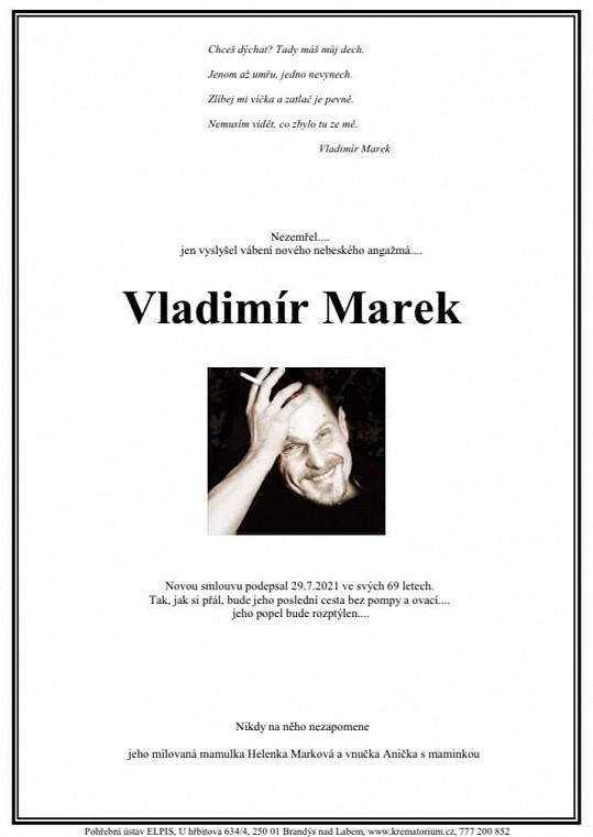 Rodina zveřejnila parte Vladimíra Marka.