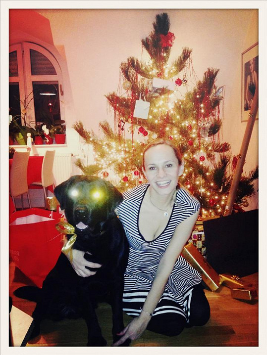 Monika Absolonová poslala od stromku fotku s labradorem.