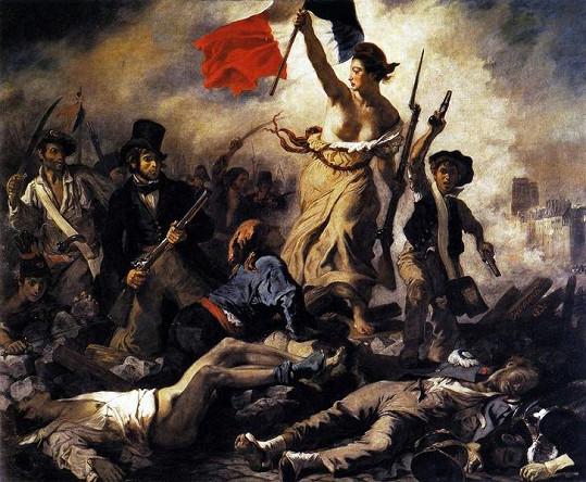 Marianne symbolizující svobodu na obrazu Eugena Delacroixe z roku 1830.