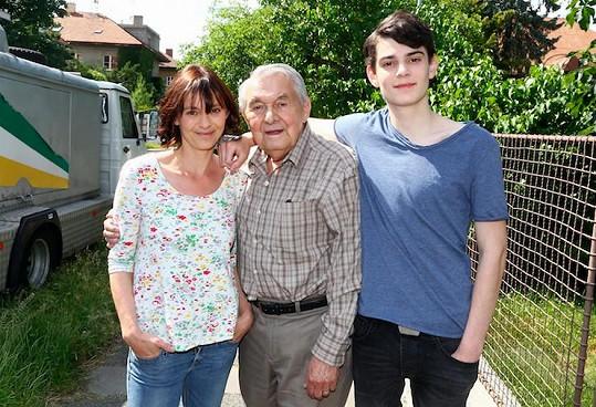 Klára s tchánem Ladislavem Trojanem a synem Josefem
