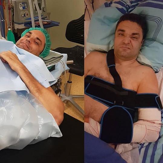 Martin sdílel snímky i z operačního sálu.