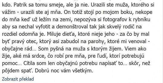 Část zprávy, kterou si Dara vyvěsila na Facebook.