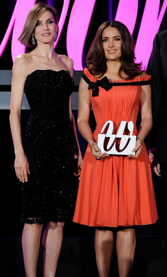 Královna Letizia s mexickou herečkou Salmou Hayek