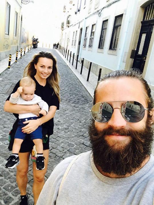 Se synem a manželem Janem Plecháčem