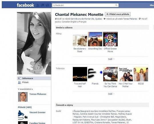Facebookový profil šílené kanadské fanynky, která tvrdí, že je manželkou Tomáše Plekance.