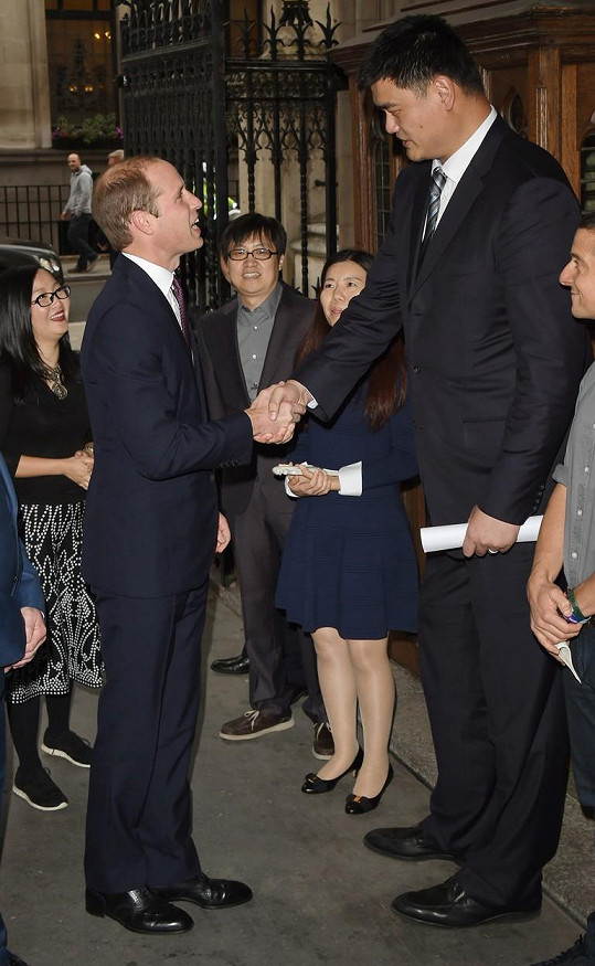 Vévoda z Cambridge musel na Jaoa Minga pohlédnout vzhůru...