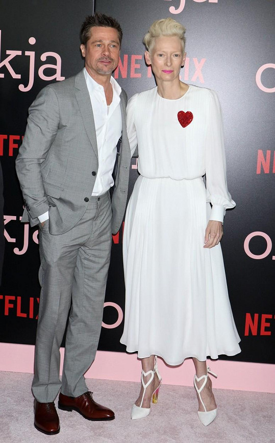 Brad Pitt s herečkou Tildou Swinton