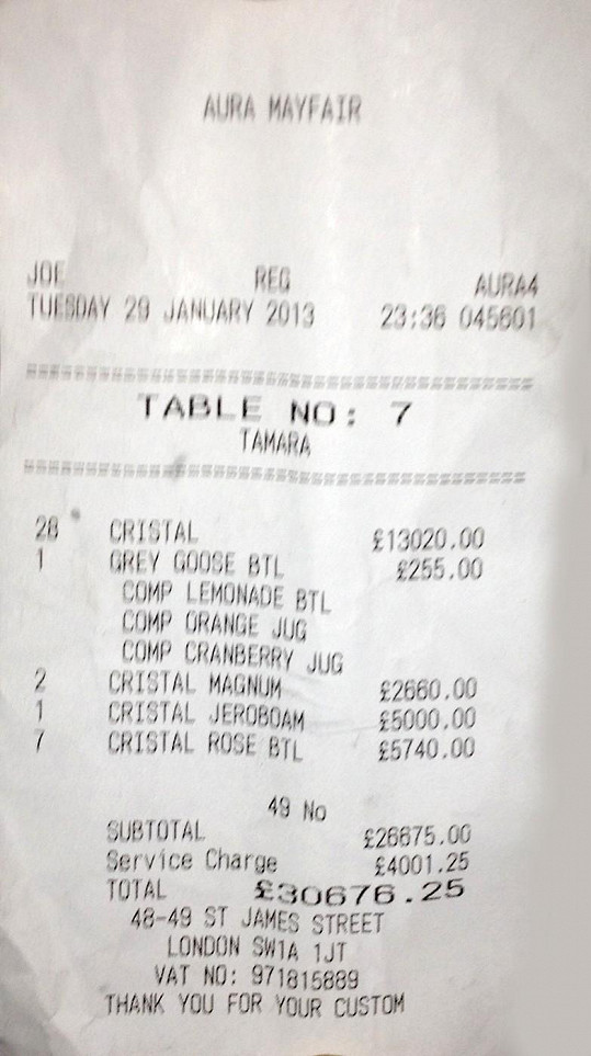 Účet Tamary Ecclestone v klubu Mayfair.