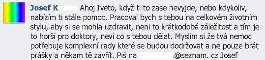 Vzkaz pro Ivetu na její stránce na Facebooku.