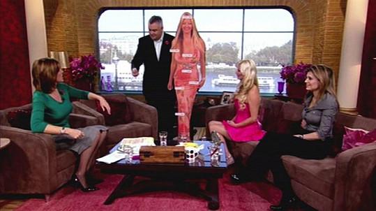 Sarah v televizní talk show, kam jeden z moderátorů přinesl její papírovou podobiznu s označenými úpravami jejího těla.