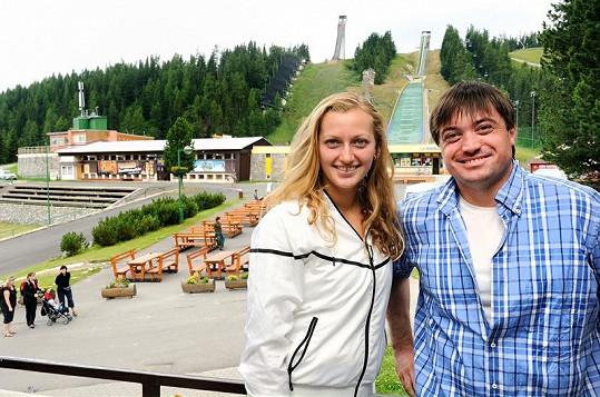 Petra Kvitová s Igorem Rattajem v Tatrách.
