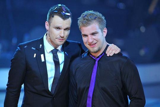 Leoš Mareš a Lukáš Adamec krátce po vyhlášení vítěze SuperStar.