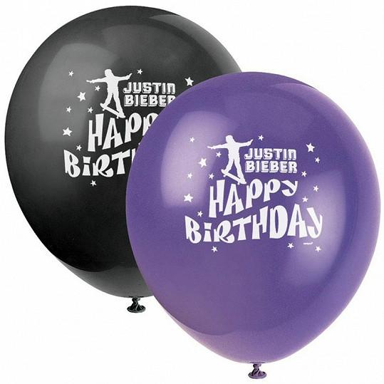 Narozeninové balónky s Justinem Bieberem.