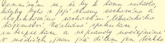 Třetí část omluvného dopisu Barbory Škrlové.