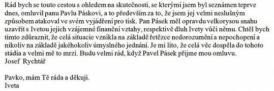 Omluva Ivety a Josefa Rychtáře Pavlu Páskovi.