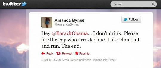 Amanda napsala i prezidentovi.