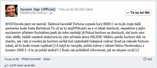 Status Jaromíra Jágra na Facebooku.