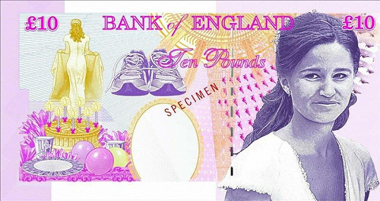 Pippa Middleton na návrhu bankovky.