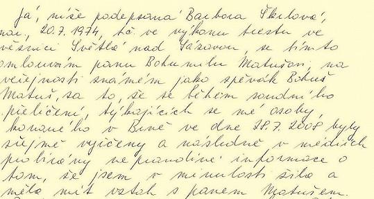 První část omluvného dopisu Barbory Škrlové.
