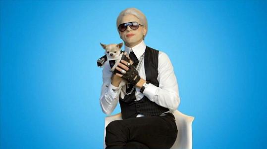 Ashton za Karla Lagerfelda s čivavou v ruce.