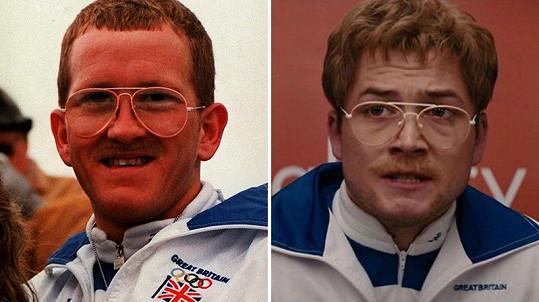 Skokan na lyžích Michael Edwards (vlevo) měl velice specifické grimasy, které zvládl herec Taron Egerton naprosto dokonale.