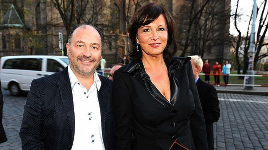 Michal David s manželkou Marcelou na udílení cen TýTý