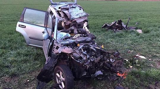 Vůz Dolenského po tragické autonehodě