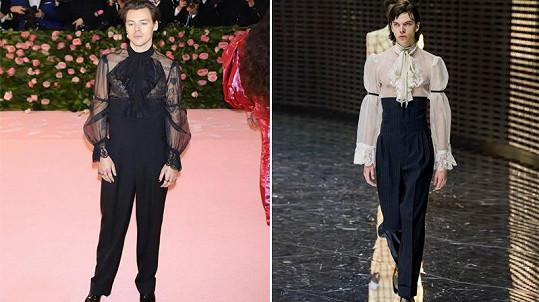 Stejný model, který zvolil Harry, se objevil na přehlídce Gucci v černobílé verzi.