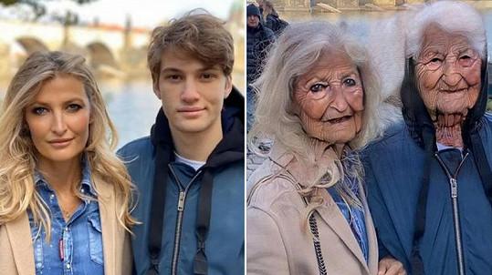 Tereza Maxová se synem Tobiasem, který za svou maminkou přijel z Londýna