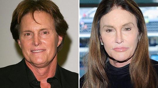 Bruce Jenner (vlevo), Caitlyn Jenner (vpravo)