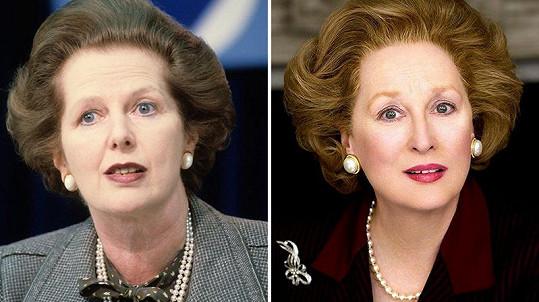 Ve filmu Železná lady ztvárnila Margaret Thatcher herečka Meryl Streep (vpravo). Za tuto roli získala několik cen včetně Oscara, Zlatého glóbu i Filmové ceny britské akademie.