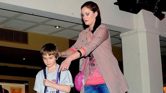 Natálie Kocábová se synem Vincentem na Barrandov TV párty