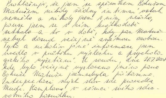 Druhá část omluvného dopisu Barbory Škrlové.